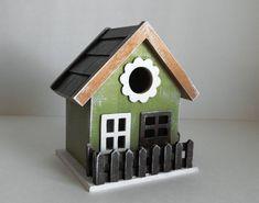 Fancy Decorative Birdhouse, Hand Painted Birdhouse, Rustic Birdhouse, Green and White Decor, Cottage Birdhouse, Decorative Birdhouse