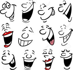 Illustration of Cartoon faces and emotions for humor or comics design vector art, clipart and stock vectors. Silly Faces, Funny Faces, Illustration Vector, Vector Art, Stone Painting, Painting & Drawing, Drawing Tips, Cartoon Drawings, Art Drawings