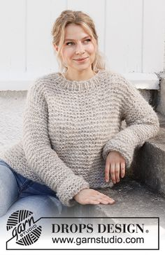 Drops Design, Easy Sweater Knitting Patterns, Knit Patterns, Knitting Gauge, Free Knitting, Snuggles, Laine Drops, Drops Kid Silk, Point Mousse