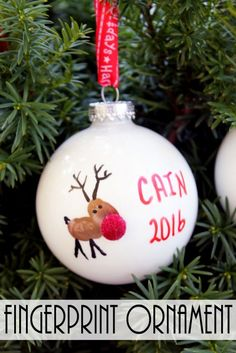Country Chic Cottage || Reindeer Ornaments Kids Can Make ~ The red nose could be a pom pom or another fingerprint! Merry Christmas!
