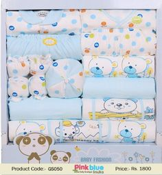 1db8a2b4d51 Gorgeous Blue and White Little Newborn Baby Gift Set of 17 piece