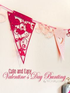 I'm so inspired by Valentine's day!... aaand I'm so excited to share this cute Valentine's Day Buntings + cutting files I made to decorate my office/craft room LOL.