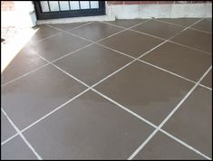 cheap tutorial for patio concrete slab. looks like tile but it's concrete stain. Concrete Patios, Concrete Patio Designs, Concrete Porch, Brick Patios, Concrete Floors, Concrete Staining, Concrete Resurfacing, Tile Patio Floor, Patio Wall