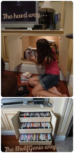 Still looking for DVDs the hard way? Upgrade your #EntertainmentCenter with custom #PullOutShelves and switch to the #ShelfGenie way!
