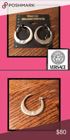 "🆕Versace🇮🇹19V69🇮🇹Logo Hoop Earrings Authentic🇮🇹Versace 19V69 Abbigliamento Sportivo❤Luxury and elegance❤ 1 1/4"" hoops are crafted of high polished sterling silver❤Logo 🇮🇹19V69 🇮🇹is embossed on each hoop🚫trades Versace Jewelry Earrings"