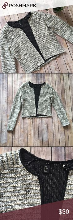 H&M Woven Faux Leather Trim Sweater Jacket You are going to look super chic this fall in this H&M woven sweater jacket with faux leather trim! Light shoulder padding. Open design, does not close. Some light pulls and pilling, but given the woven material it's not super obvious. TONS of life still left in this beauty!   NO TRADES NO OFF SITE  ✅POSH RULES ONLY ✅DOG FRIENDLY, SMOKE FREE HOME ✅FAIR OFFERS  PLEASE USE OFFER BUTTON!  ❓ASK IN THE COMMENTS!   BUNDLE 2+ ITEMS & SAVE!!!!! H&M Sweaters…