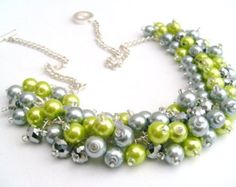 Beaded Necklace, Lime and Silver Bridesmaid Jewelry, Cluster Necklace, Chunky Necklace, Bridesmaid Gift, Bridesmaid Necklace, Bridal Jewelry