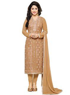 a108c48585de12 Designer Straight Cut atisundar pretty Burly Wood Designer Embroidered  Party Wear Straight Cut In Faux Georgette Featuring Heena Khan-Akashra -  11578