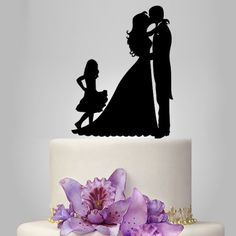 bride and groom Wedding Cake topper with child, cake topper with girl