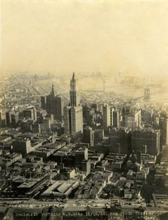 Aerial view of Lower Manhattan, Woolworth Building, and East River bridges. Photograph by U. Make Money Online Now, How To Make Money, Woolworth Building, East River, Lower Manhattan, Old City, Historical Society, Aerial Photography, Aerial View