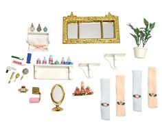 Elegant accessory sets with amazing hand-detailing will provide the perfect finishing touch for any dream house! Ages 6+ 10.5 x 7.25 x 2 boxed 21 pcs. These detailed accessory sets provide the perfect finishing touch for any dream home. Great accompaniment to our majestic Victorian dollhouse Bathroom Furniture Set.