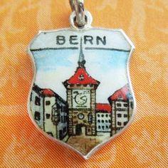 Vintage enamel BERN SWITZERLAND CLOCK TOWER 800 silver souvenir travel charm from A Genuine Find
