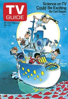 TV Guide February 4, 1978 -  Bernie Kopell, Gavin MacLeod, Lauren Tewes, Ted Lange and Fred Grandy of The Love Boat. Illustration by Rowland B. Wilson