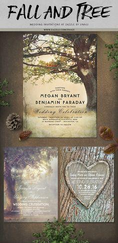 Fall Tree Rustic Wedding Invitation