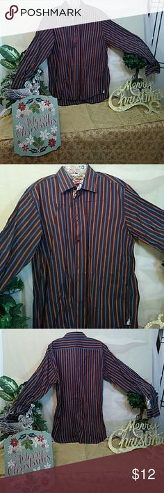 Luchlano men's dress shirt High quality made from 2 ply mercerized cotton. Sharp-looking stripe pattern the colors are dark brown a shade of rust orange and blue with nice buttons all the way down the front and it's long sleeve Luchlano Shirts Dress Shirts