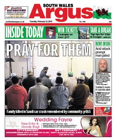 @southwalesargus front page 12.02.13 - Community pray for Saudi car crash family