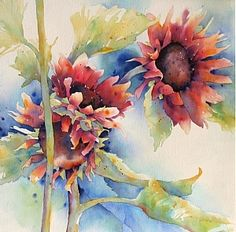 Red Sunflowers by Yvonne Joyner Watercolor ~ 28 in. x 28 in.