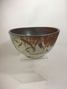 Stoneware Serving Bowl with Brush Decoration, handmade by NC potter, David Voorhees Pottery