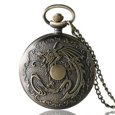 Antique Chiness Lucky Dragon Pattern Classical  Pocket Watch Necklace Chain Men's Women Gift Box  YISUYA231