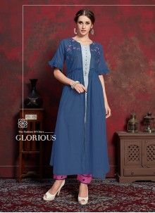 Buy unique collection of designer kurti and kurti. Buy this spectacular embroidered work party wear kurti for festival. Embroidered Clothes, Embroidered Tunic, Long Jacket Dresses, Short Sleeve Dresses, Western Dresses, Indian Dresses, Ladies Kurti Design, Kurti With Jacket, Angrakha Style