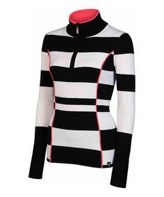 Look what I found on #zulily! Black Stripe Half-Zip Izzy Wool-Blend Pullover #zulilyfinds
