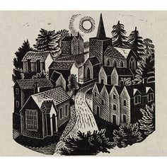 The Village, by Eric Ravilious Wood engraving. UK, Illustration for The Village, journal published by the Natural Council of Social Service. Linocut Prints, Art Prints, Block Prints, Scratchboard, Encaustic Painting, Fabric Painting, Chalk Pastels, Wood Engraving, Woodblock Print