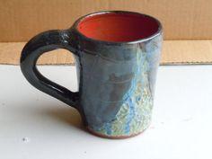 Hand Made Hand Thrown Wheel Thrown Hand Carved Ceramic Pottery Mug Blue and Green Mug Blue Green Mug Black and Red Mug Large Mug