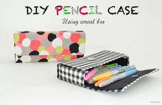Bright and colourful no-sew DIY pencil cases upcycled from cereal boxes and fabric.