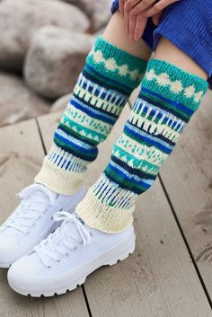 """The legwarmers are back, bigtime. And when it comes to legwarmers, there's really no such thing as """"too much"""". We created these from our new yarn colours for spring/summer 2020. Perfect for your first colourwork project!  #knittingpatterns #pattern #crochet #crocheting #crochetideas #yarn #wool #cotton #linen #nordic  #handmade #knitfashion #spring #pastel"""