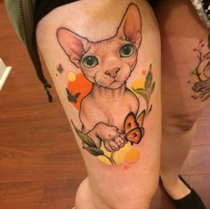 My sphynx thigh piece by Chelsea Shoneck @ Loose Screw Tattoo, Richmond, VA!