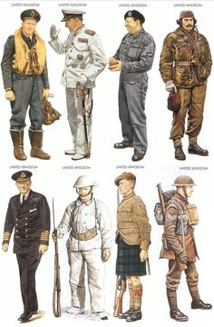 Uniforms of the various arms and services worn by the British during World War 2.