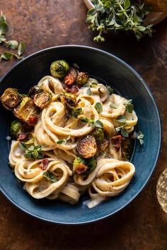 Brown Butter Brussels Sprout and Bacon Fettuccine Alfredo | halfbakedharvest.com