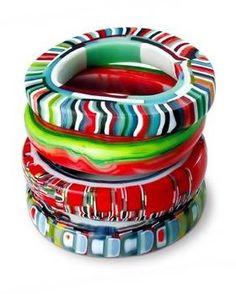 Glass bangles handmade by Erica Rosenfeld