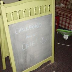Chalkboard made from old crib