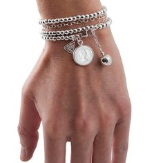 Chic, Pure and Simple Sterling silver wrap-around bracelet with 6 pence coin Von Treskow Silver Earrings Online, Silver Necklaces, Silver Jewelry, Silver Rings, Beaded Bracelets, Jewelery, Pure Products, Sterling Silver, Arm Candies