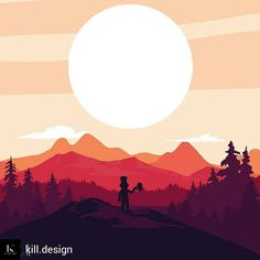 @Regrann_App from @kill.design -  #illustration #illustrator #flatdesign #graphicdesign #landscape #forest #sunrise #goblin #beer #graphicdesigner #student - #regrann