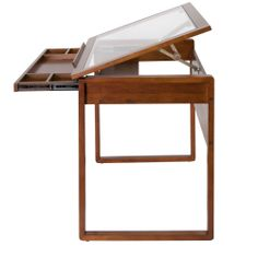 Shop for Studio Designs Ponderosa Glass Top Solid Wood Drafting and Hobby Craft Table. Wood Drafting Table, Drawing Desk, Glass Top Desk, Art Supply Stores, Bureau Design, Wooden Drawers, Ideias Diy, Console Table, Safety Glass