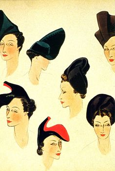 "Sketches For Hats    From ""Elsa Schiaparelli"" by Francois Baudot        ""Various designs for hats produced in 1937 for the House of Schiaparelli, include the shoe-hat suggested to Salvador Dalí by his wife Gala."""