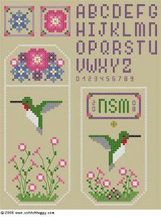 Cross Stitch Happy: Hummingbird Scissors Pocket and Fob
