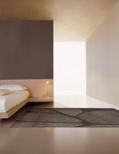 Bed design option for new apartment. Nice lighting and beautiful calm colours for the bedroom. Photoshoot for new rug collection by Kristiina Lasus. Contemporary Bedroom, Modern Bedroom, Minimalist Bedroom, Taupe Bedroom, Hotel Room Design, Interior Architecture, Interior Design, Loft, Room Planning