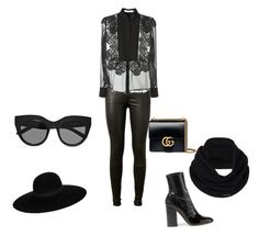 """""""All black everything"""" by anusharao on Polyvore featuring AG Adriano Goldschmied, Givenchy, Valentino, prAna, Maison Michel, Le Specs and Gucci"""