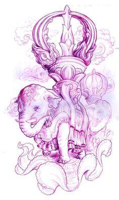 A new school fantasy tattoo sketch by Jee Sayalero