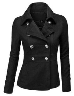 Doublju Double Breasted Pea Coat Jacket.