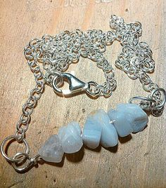 Collana argento e agata blue lace da donna.  Collana minimale da donna by RamixBijoux on Etsy