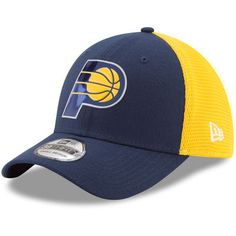 new style 1aa1a 9b3d0 Men s Indiana Pacers New Era Navy Gold On-Court 39THIRTY Flex Hat