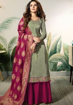 VJV Fashions presenting Jasmin Bhasin Green Satin Silk Embroidered Palazzo Suit shop from our biggest collection of designer salwar suit, party wear salwar Indian Salwar Kameez, Salwar Kameez Online, Churidar, Designer Salwar Suits, Designer Dresses, Indian Dresses, Indian Outfits, Sharara Suit, Banarasi Suit