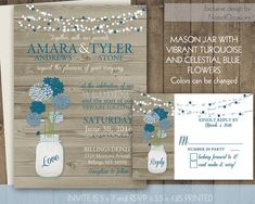 Rustic Mason Jar Country Wedding Invitations and RSVP Cards - on wood grain background | Spring and Summer Country Wedding DIY digital file $48.00  by NotedOccasions