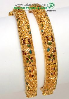 Gold Kada with Rubies & Emeralds - Set of 2 Pair). Gross Gold Weight: - grams Ruby & Emerald Weight : Carats Note: This item comes with a Scre Gold Bangles For Women, Gold Bangles Design, Gold Jewellery Design, 1 Gram Gold Jewellery, Gold Jewelry, Bridal Bangles, India Jewelry, Note, Jewels