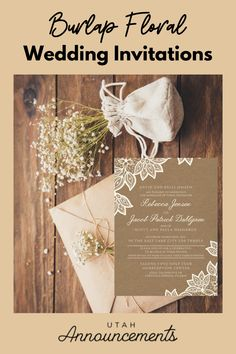 Floral invitations are made more elegant by incorporating it into burlap-inspired invitations. Burlap plus a touch of floral equals class. Create a custom design with us today! Burlap Wedding Invitations, Wedding Invitation Trends, Typography Wedding Invitations, Floral Invitation, Invites, Rustic Feel, Custom Design, Marriage, Touch
