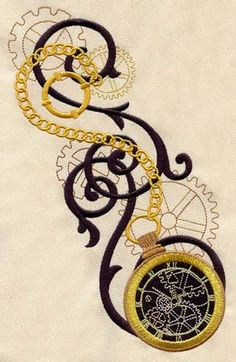Clockwork Magic-Pocket Watch - this is sooooooo cool! - machine embroidery design